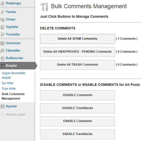 Bulk Comments Manager Plugin Page ScreenShot