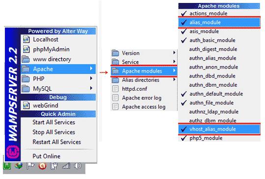 WampServer Sanal Host için Gerekli Modülleri Etkinleştirme