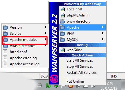 WampServer Apache Modules Ekranı