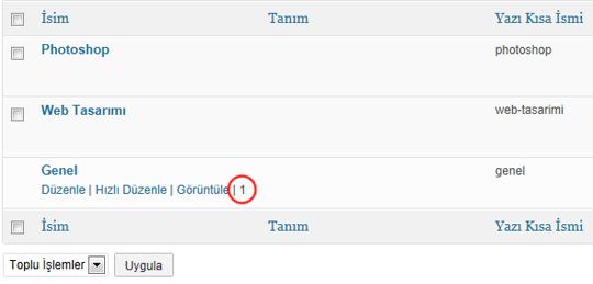 Kategori, Etiket ve Kullanıcı Listelerindeki ID Bilgisi