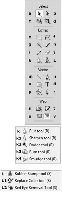 Adobe FireWorks CS5 Araç Düğmeleri