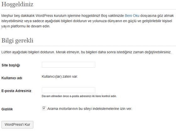 WordPress Alt Site Kurulum Ekranımız