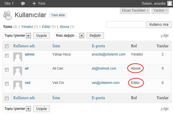 WordPress Site1 Alt Sitesinde Oluşturduğumuz Kullanıcıların Listesi